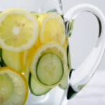 Pitcher of Water with Slices of Lemon and Cucumber