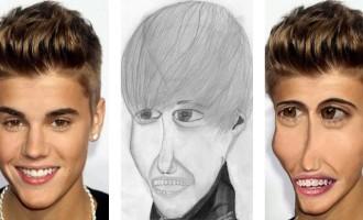 Así serían los famosos si se vieran como los retratos de sus fans