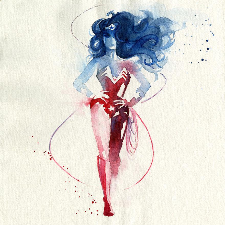 watercolor-super-heroes-paintings-clementine-campardou-blule-15