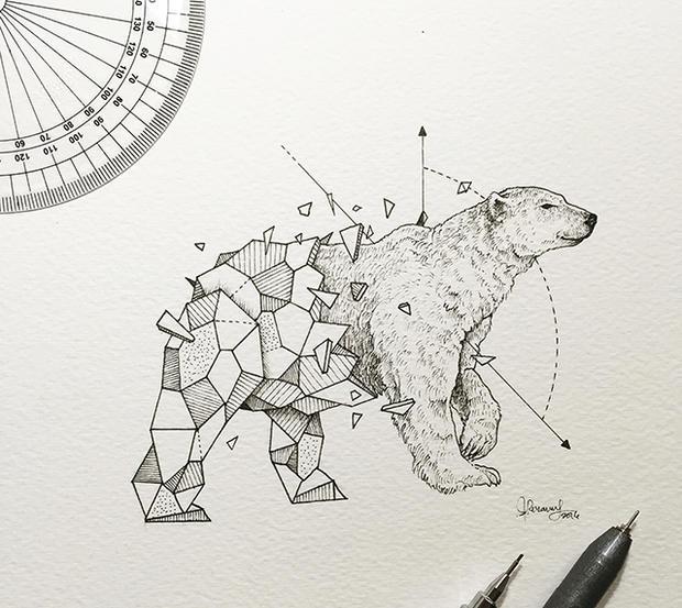 Kerby Ronsanes Crea Híbridos De Animales Con Figuras Geométricas
