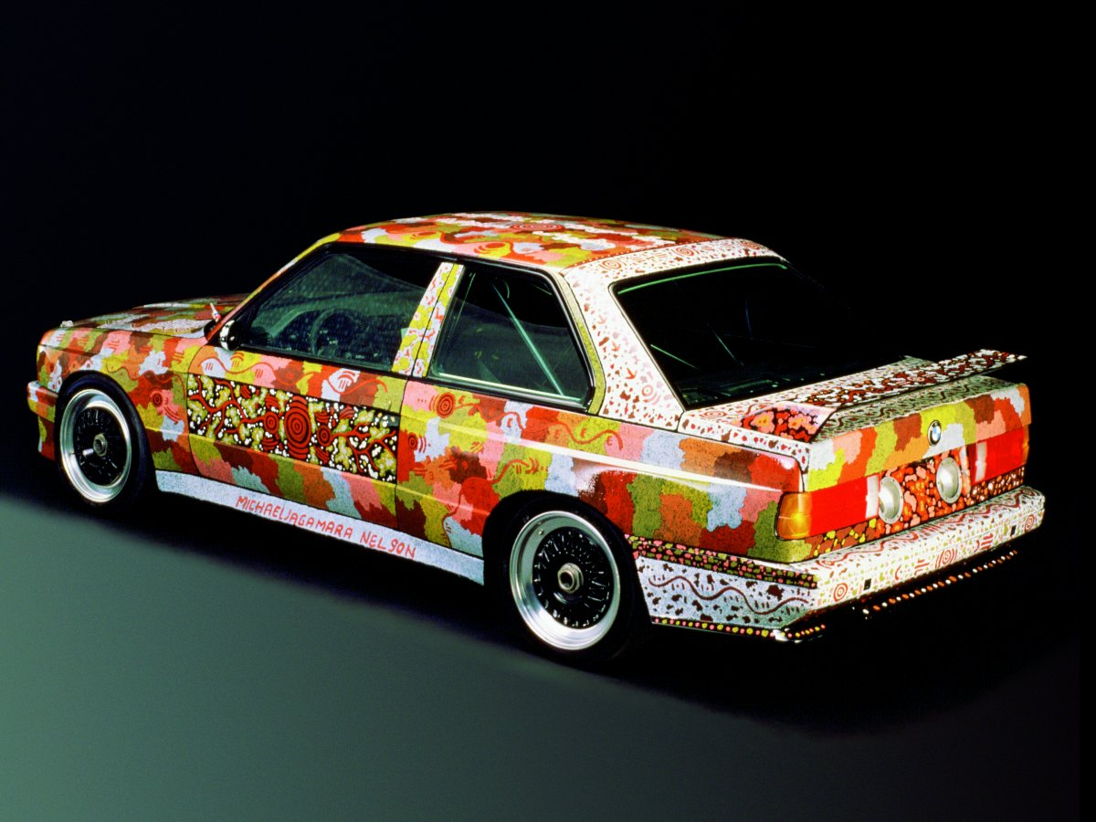 michael-jagamara-nelson-used-the-aboriginal-papunya-art-form-to-paint-his-1989-m3-group-a-art-car